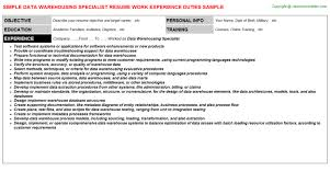 Data Warehouse Resume Sample by Data Warehouse Resume Warehouse Manager Resume Sample Template