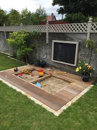 finished article sandpit in deck garden ideas kids