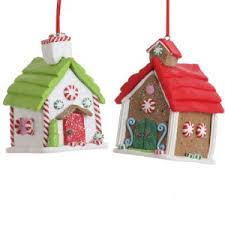 gingerbread house clay dough ornaments set of 2 gj