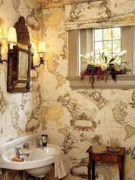Vintage Map Wallpaper by Vintage Bathroom With Small Ornate Mirror And Sconces Also Map