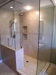 bathroom curved doorless shower with rain shower and teak shower