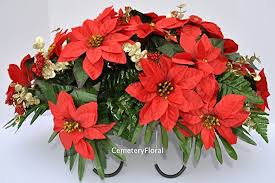 Christmas Decoration For Gravestone by Amazon Com Red Poinsettia Headstone Saddle Decoration For