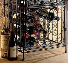 wrought iron wine rack free standing metal floor storage home