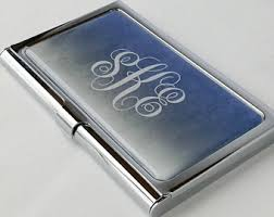 Monogram Business Cards Business Card Case Etsy