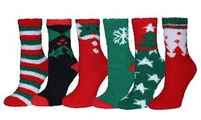 fuzzy christmas socks up to 58 on women s fuzzy christmas socks groupon goods