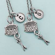 personalized charm necklaces best friend necklace drum necklace drum charm marching band bff