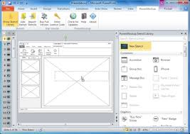 powerpoint website mockup template wireframe stencils for