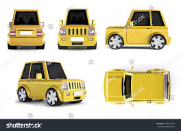 cartoon car back 3d illustration yellow suv cartoon car stock illustration