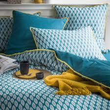 serviette coton bio parure de lit 2 personnes en coton bio linge de lit bleu canard