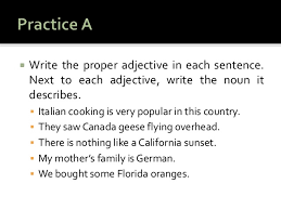 adjectives in sentences chapter 4 using adjectives in sentences