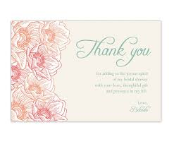 gift card bridal shower wording thank you card wedding shower thank you cards david s