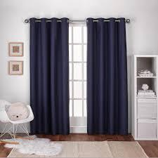 Navy Curtain Textured Linen Navy Blue Thermal Grommet Top Window Curtain Ek5319