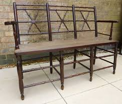 rush seated triple back settee bench antiques atlas
