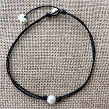 leather necklace with pearl images Handmade leather choker with natural pearls chokers leather JPG