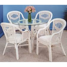 white and whitewash rattan and wicker dining room furniture sets