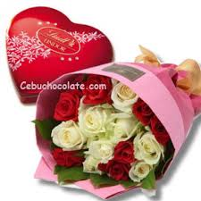 flowers and chocolate send 12 mixed roses bouquet with lindt chocolate to cebu
