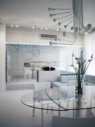 dining room contemporary glass partition in the apartment design
