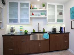 bright white frosted glass kitchen cabinet door design with brown