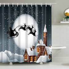 Waterproof Fabric Shower Curtains Colormix M Snowing Night Fabric Waterproof Christmas Shower