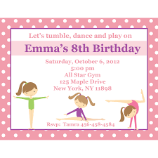 Personalized Birthday Invitation Cards 20 Personalized Birthday Invitations Pink Gymnastics