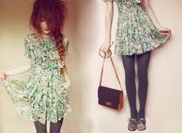 dress nadia esra blue dress cute floral dress braid hipster