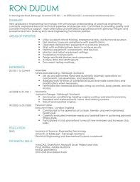 technical resume template engineering technician cv exle for engineering livecareer