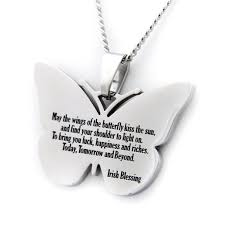 blessing celtic butterfly pendant stainless steel necklace