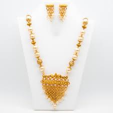 gold antique necklace set images Mybluepink antique gold necklace set with moti mala jpg