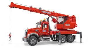 bruder garbage truck bruder 1 16 mack granite crane truck with light u0026 sound module