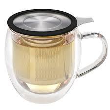 venice double wall tea mug with black infuser 15 oz 430 ml