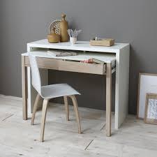 bureau avec plateau coulissant bureau console 2 tiroirs bicolore melody certifié fsc 3 suisses