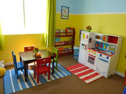 stunning fun playroom ideas for kids with red paint wall and