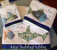 pottery barn kids 3pc funny fish bath towel set shark madras