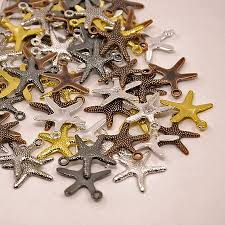 starfish charms wholesale assorted metals gold bronze black silver