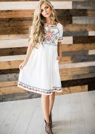 embroidered embroidered dress blonde hair mothers day sunday