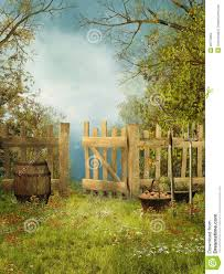 old garden with a wooden fence stock images image 20170664