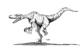coloriages à imprimer animaux dinosaures vélociraptor page 1
