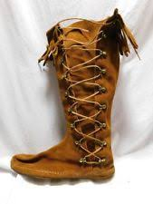 womens moccasin boots size 11 minnetonka medium b m width lace up boots for ebay