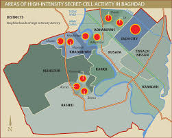 baghdad on a map areas of high intensity secret cell activity in baghdad