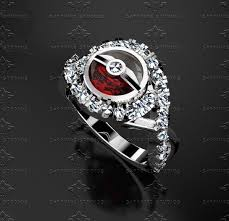 pokeball engagement ring sapphire studios pokeball solid white gold ring