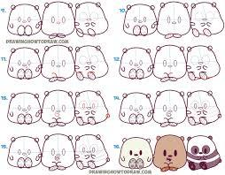 learn how to draw we bare bears cute kawaii chibi baby
