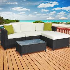 Sofa Set Table Outdoor Patio Furniture Cushioned 5pc Rattan Wicker Aluminum Frame