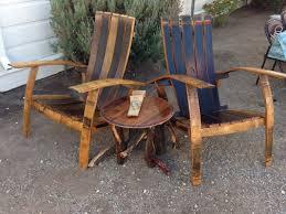 handmade wine barrel adirondacks and table with manzanita base