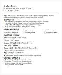 security guard resume exle security guard resumes 10 free word pdf format free