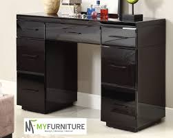Black Vanity Table With Mirror Rio Mirrored Black Glass Dressing Table Console 7 Drawer Mirror