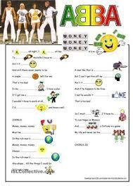 abba lyrics money money money song gapfill worksheet free