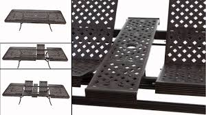 outdoor table that seats 12 extending 12 seater cast metal outdoor furniture set with seat pads