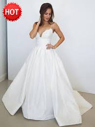 wedding dress a line buy a line spaghetti straps satin wedding dress with lace top