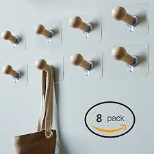 adhesive wall hooks sendida 3m adhesive wall hooks 8 pack no drills wooden hat hooks