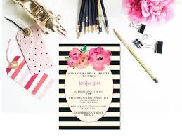 printable black and white striped floral bridal shower invitation